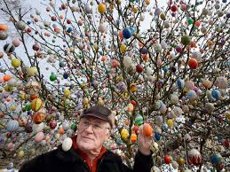 Those are painted eggs.  And you don't cut down the tree.