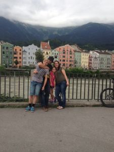 Innsbruck.  I'm strangling Sam because he thought he was being funny blocking Isabel from the photo